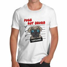 Mens Cotton Novelty Funny Cute Design Pugs Not Dogs T-Shirt White Large