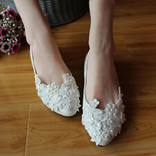 Women's Flat Heels LAce pearl Wedding shoes set Foot embroidered Casual shoes