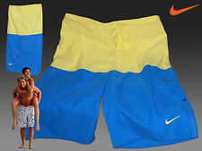 NIKE AD Athletic Department AD Swimming Board Shorts Trunks Blue & Yellow