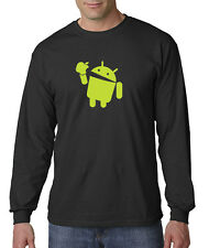 Android Eats Apple Long Sleeve Tee Shirt Nerd/Computer Geek Cell Phone S-5XL