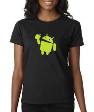 Android Eats Apple Ladies Tee-Shirt Nerd/Computer Geek Cell Phone S-3XL