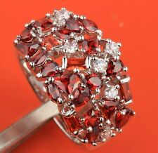 UNUSUAL Red Garnet Topaz Gemstones Silver Rings US#Size5 6 7 8 9 B2917