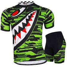 Green Shark Cycling Jersey Padded Shorts Bicycle Wear Cycle Jersey Clothing