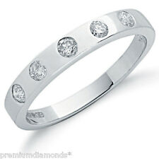 NEW 0.32ct Diamond STUDDED Band Ring in 9ct White Gold + FREE Jewellery Box