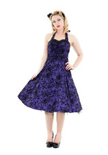 PURPLE HALTER DRESS FLOCKED SWALLOWS PINUP 1950's HOUSEWIFE 6456 H&R LONDON STAR