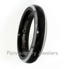 Tungsten Carbide Ring Black IP Polish Dome Bevel Edge 4, 6, or 8mm Wedding Band