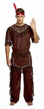 Adult Native Red Indian Man Brave Warrior Chief Fancy Dress Up Cowboy Costume