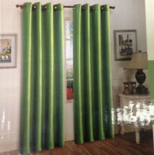 "FAUX SILK  Window Treatments Curtains Drape GROMMETS 63"" 84"" 95"" EMERALDS GREEN"