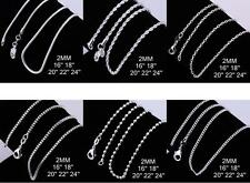 Various Stunning 925 Sterling Silver 2MM Necklace Chains Unisex 16 - 24''