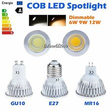 1/10/20X Dimmable 6W 9W 12W MR16 GU10 E27 LED COB Spotlight Down Light Lamp Bulb