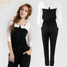 High Quality OL Summer Womens Chiffon Jumpsuit Black&White 3/4 Sleeve Coat Pants