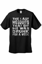 MEN'S FUNNY T-SHIRT The Last Mosquito That Bit Me was Drunk for a Week BEER TEE
