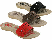 BRAND NEW LADIES/WOMEN'S WEDGE HEEL SOFT INSOLE SLIP ON SUMMER FLOWERY MULES 3-8