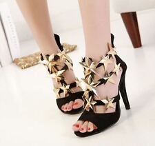 Roma Sexy Dress Womens Metal Star High Heel Suede Elegant Pump Sandals Shoes New