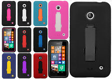 For Nokia Lumia 635 Impact Hard Rubber Kick Stand Case Phone Cover Accessory