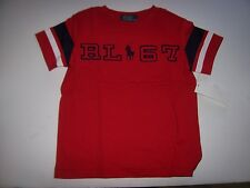 NEW POLO RALPH LAUREN red with navy blue t shirt baby toddler boys RL 67