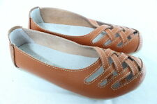 Women Comfortable Genuine Soft Leather Flats Casual Work Ballet Shoes Orange