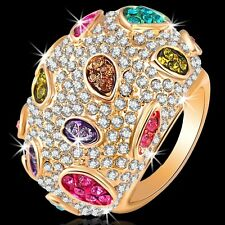 Multi Color Crystal Pave Set Pink Purple Dome Yellow Gold GP Ring NEW