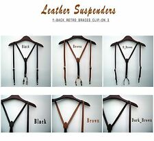 Mens Leather Suspenders Y-Back Retro Braces Clip-On Leather (cowhide) 3colors