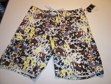 New EZEKIEL brown and yellow board shorts boardshorts swim swimsuit sz 32 or 33