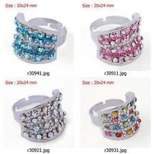 r309m11 New Fashion Women Silver Plated Gemstone CZ Inlay Sphere Adjustable Ring