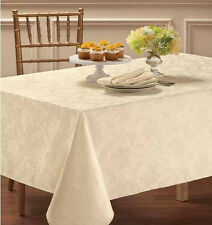 CHATTERLY SPILL PROOF MICROFIBER PAISLEY FLORAL DAMASK TABLECLOTH -WHITE, BONE
