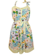 NEW DESIGUAL BLUE GREEN FLORAL RETRO VINTAGE 50's COTTON HALTER SUMMER SUNDRESS