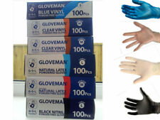 GLOVEMAN Quality Range: Latex Vinyl Powdered Powder Free or Black Nitrile Gloves