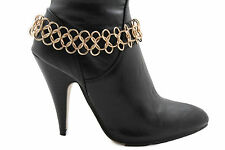 New Women Fashion Metal Heel Shoe Boot Multi Chains Gold / Silver Big Rhinestone