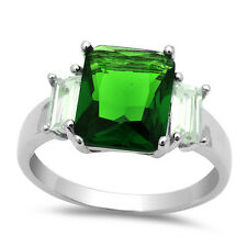 5.50CT Radiant Cut Emerald & Baguette Cz .925 Sterling Silver Ring Sizes 5-10
