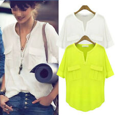 Fashion Women Long Sleeve Button Down Cotton Casual Tops Shirt Blouse V-Neck