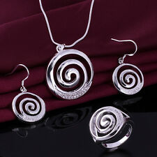 Fashion 925 Sterling silver Swarovski crystal Jewelry set earrings Ring necklace