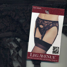3pc Set LA 8888 Lace Garter Belt + Thong + Sheer 1001 Thigh Highs Black XL Queen