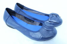 Women Comfortable Soft Leather Flats  Casual Work Ribbon Ballet Shoes BLUE