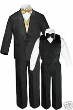 Boys Satin Shawl Lapel Suit Tuxedos EXTRA Mustard Bow Tie Vest Sets Outfits S-18