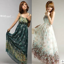 Fashion Sexy Womens Summer Casual Long Chiffon Sundress Beach Maxi Floral Dress