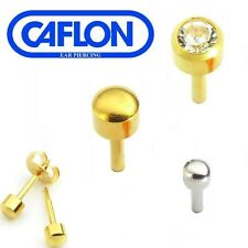 MENS GENTS CAFLON STUD EAR PIERCING EARRINGS GOLD PLATED STAINLESS STEEL 3 FOR 2