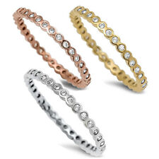 Stackable Band Cz Eternity Band .925 Sterling Silver Ring Sizes 2-12 3 colors!
