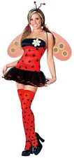Womens Ladybug Costume Halloween Fancy Dress Lady Bug Sexy Wings S M L Adult NEW