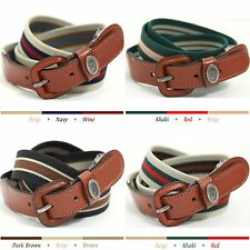 Mens Womens Fashion Belts Canvas Web Cotton Leather Stripe Style Adjustable Belt