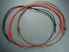 Leather cord adjustable necklace choker in black red or brown surf hippy goth