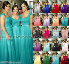 Long Chiffon Cap Sleeve Formal Evening Party Ball Prom Bridesmaid Dress Size6-18