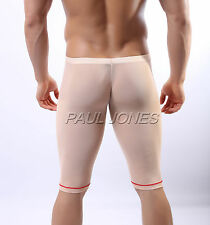 New Transparent  Mens Sexy Underwear Shorts Knee Lenght Pants Trousers Nightwear