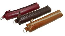 Real Genuine Leather zip Pencil case  tube pouch pen purse coin makeup LOTHS UK