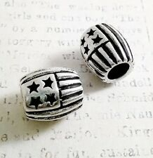 European Charm Bead American Flag USA Pride Round Independence Day 3D Silver 1PC