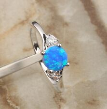 Blue Fire Opal & Zircon Gemstones UNUSUAL Silver Jewelry Rings US# Size B6507