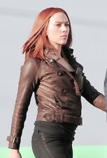 Scarlett Johansson Captain America Black Widow Natasha Romanoff Leather Jacket