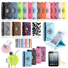 360 Degree Rotating PU Leather Case Cover w Swivel Stand For Apple iPad Mini & 2
