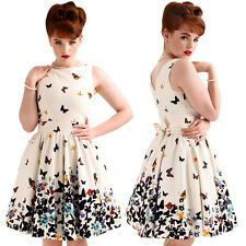 Lady Vintage London White Butterfly Tea Dress Rockabilly Pinup 50's Retro