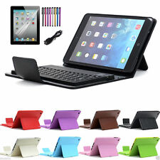 For Apple iPad Mini Stand Leather Case Cover With Wireless Bluetooth Keyboard